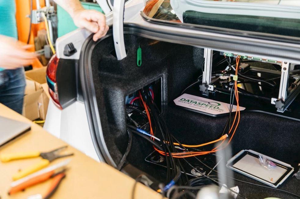 Dataspeed autonomous rack in trunk of car