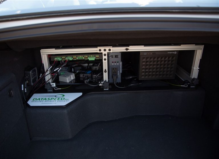 Lincoln MKZ with Power Distribution, Computing, and Instrumentation Rack