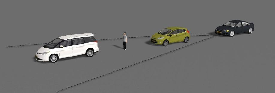 three vehicles and a pedestrian