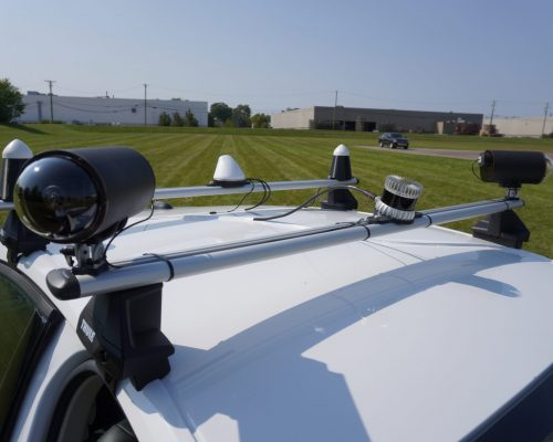 Custom Roof Rack Complete with Cameras, Lidar, GPS, and V2X Antennas
