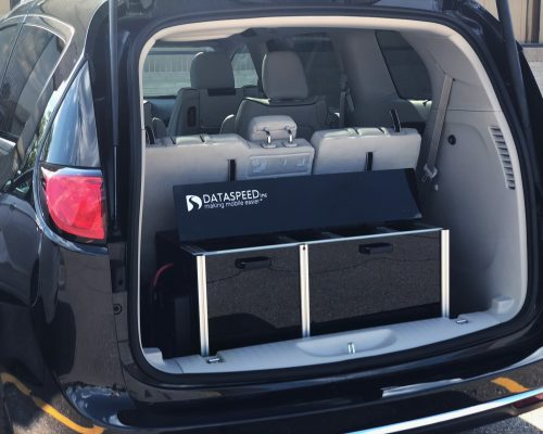 Dataspeed Active Cooling Storage Rack in Chrysler Pacifica