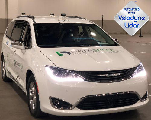 Three Magnetic Lidar Mounts with Velodyne Lidars on Chrysler Pacifica